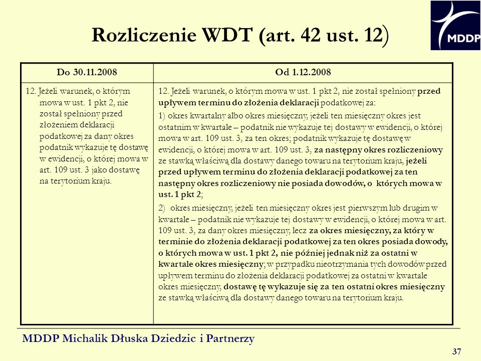 Rozliczenie WDT (art. 42 ust. 12)
