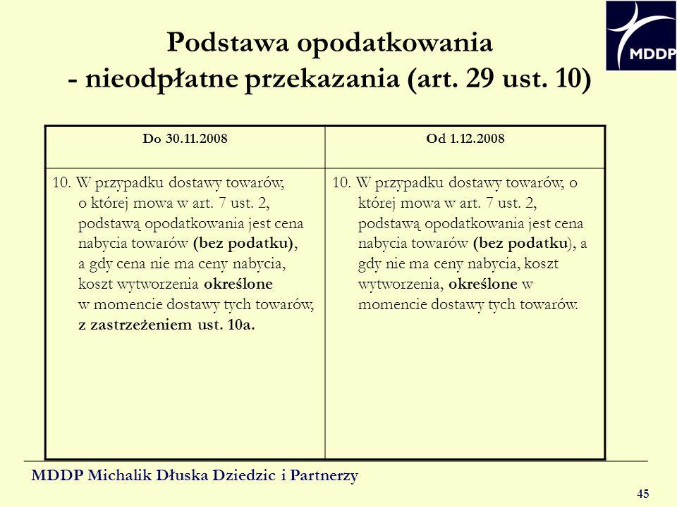 Podstawa opodatkowania - nieodpłatne przekazania (art. 29 ust. 10)