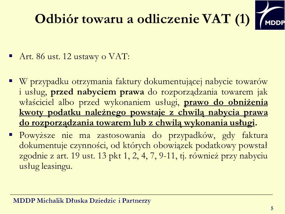 Odbiór towaru a odliczenie VAT (1)
