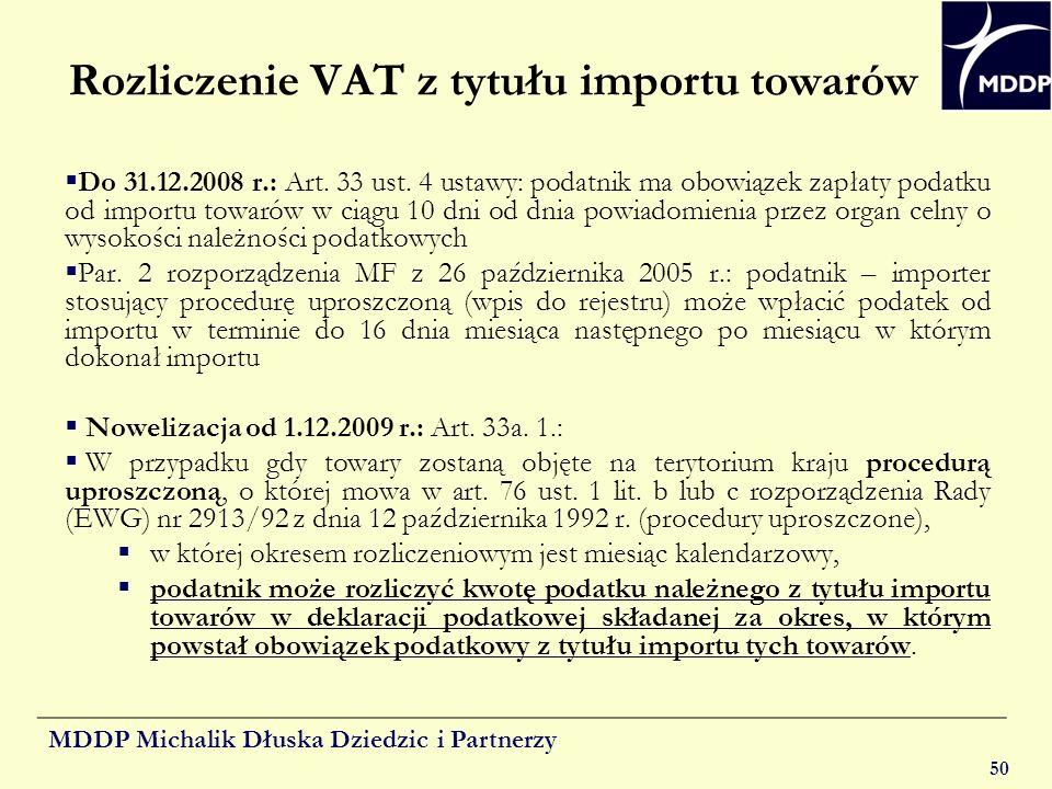 Rozliczenie VAT z tytułu importu towarów