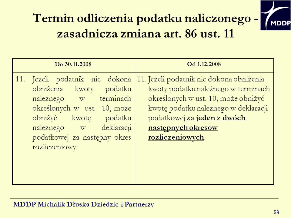 Termin odliczenia podatku naliczonego - zasadnicza zmiana art. 86 ust