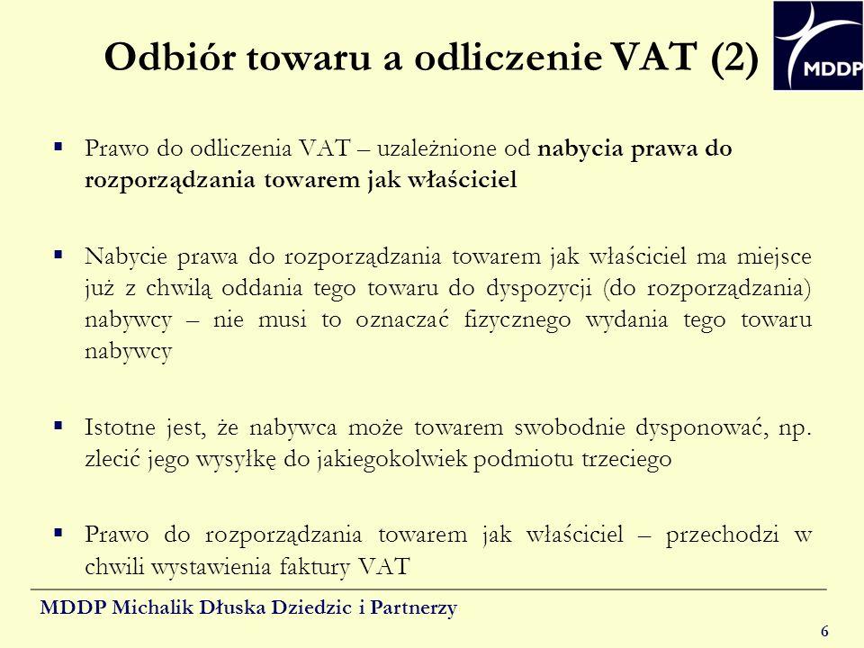Odbiór towaru a odliczenie VAT (2)