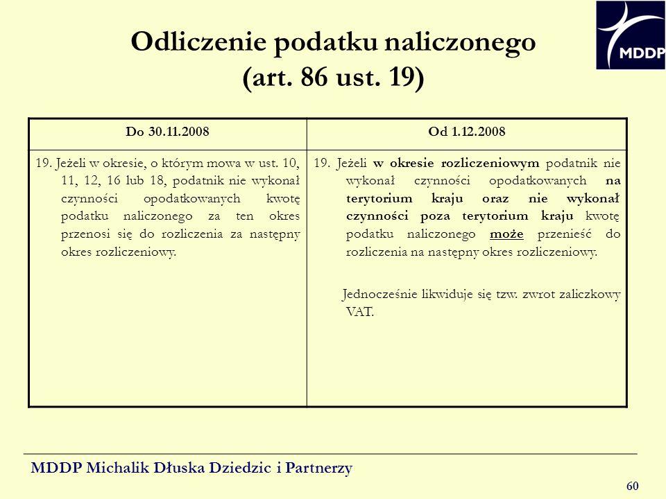Odliczenie podatku naliczonego (art. 86 ust. 19)