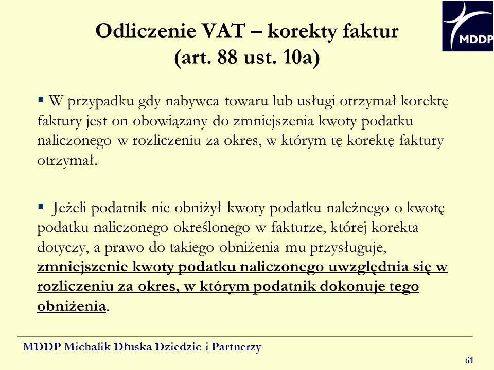 Odliczenie VAT – korekty faktur (art. 88 ust. 10a)