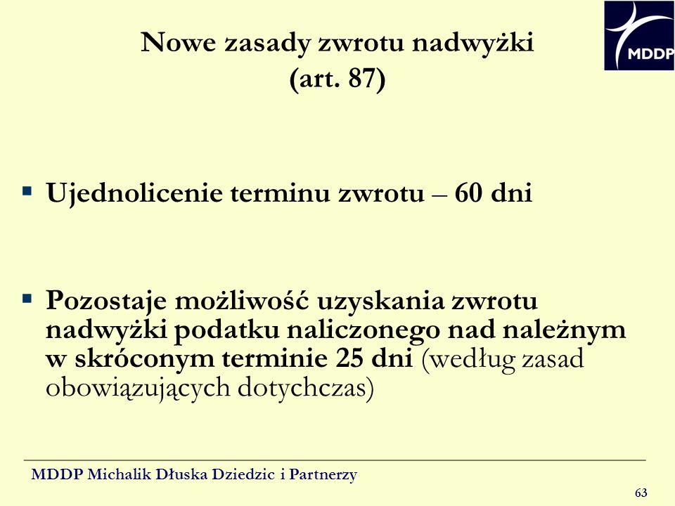 Nowe zasady zwrotu nadwyżki (art. 87)