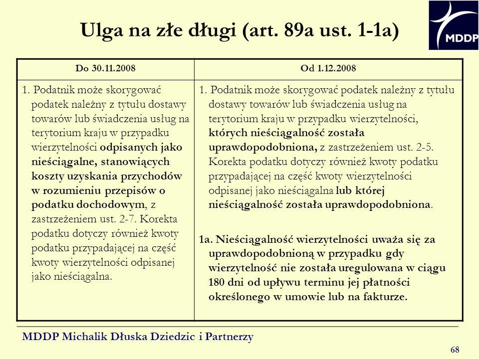 Ulga na złe długi (art. 89a ust. 1-1a)
