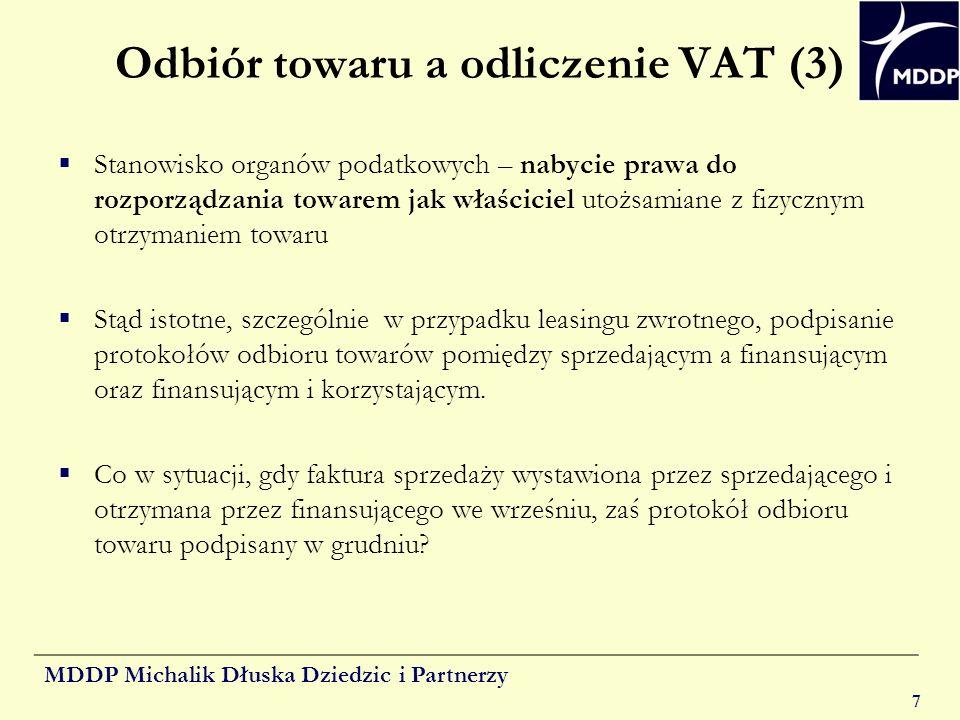 Odbiór towaru a odliczenie VAT (3)