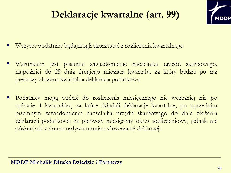 Deklaracje kwartalne (art. 99)