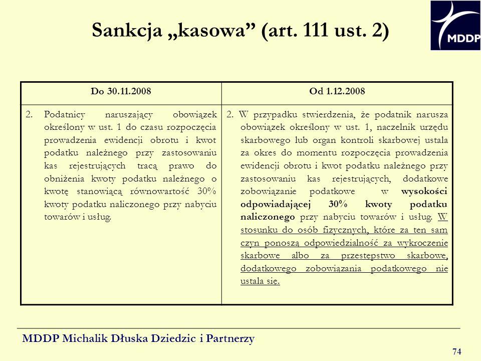 """Sankcja """"kasowa (art. 111 ust. 2)"""