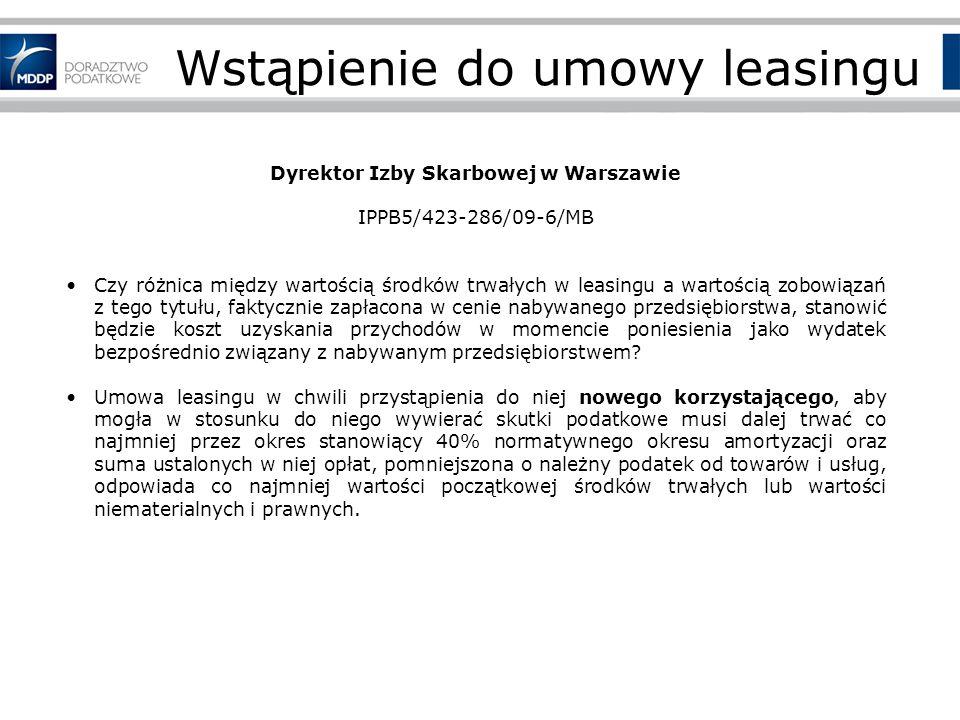 Wstąpienie do umowy leasingu