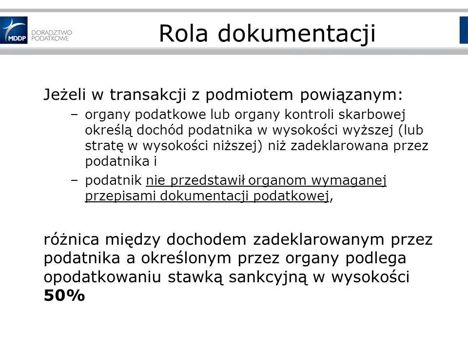 Rola dokumentacji Jeżeli w transakcji z podmiotem powiązanym: