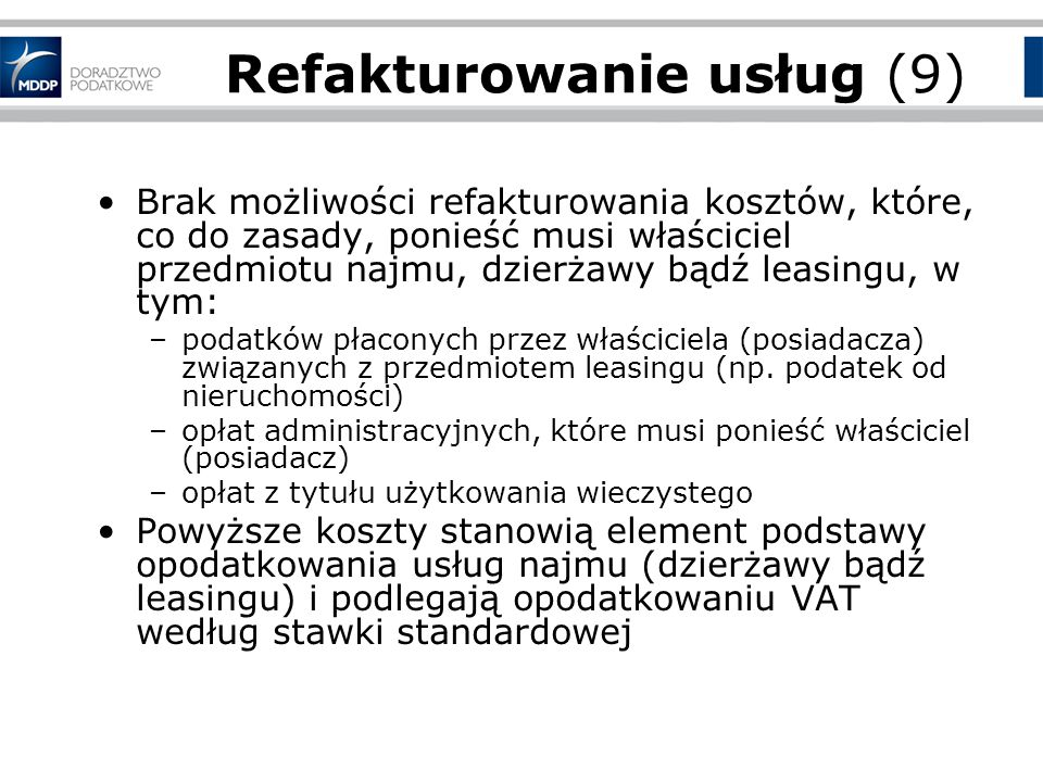 Refakturowanie usług (9)