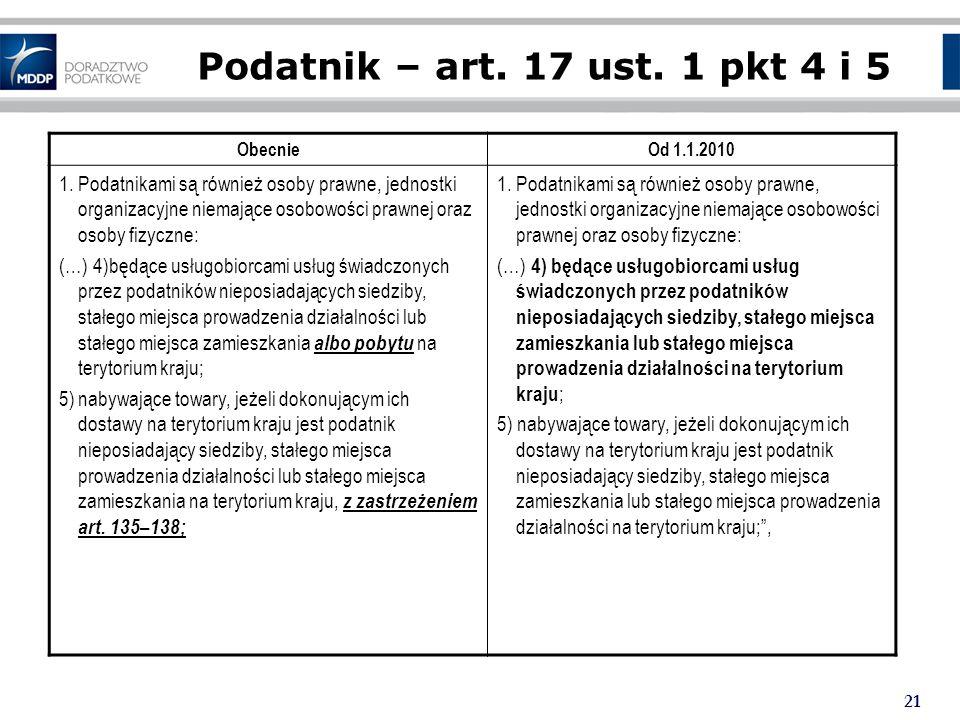 Podatnik – art. 17 ust. 1 pkt 4 i 5 Obecnie. Od 1.1.2010.