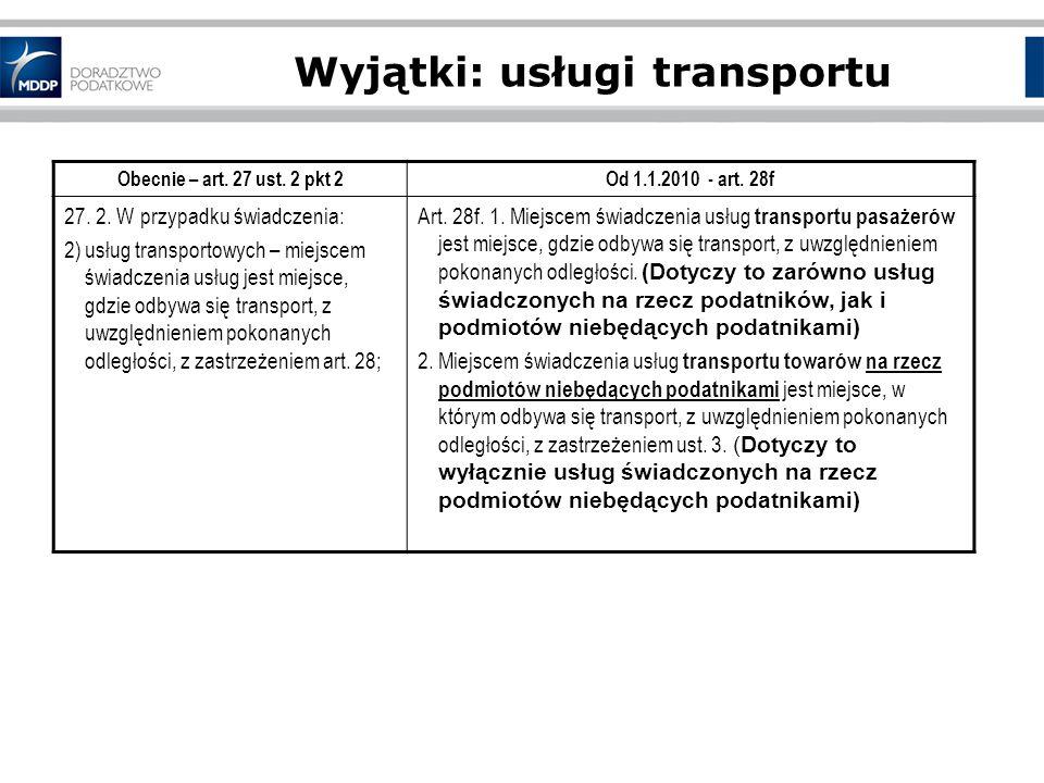 Wyjątki: usługi transportu