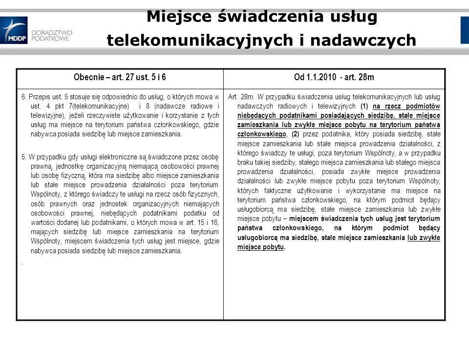 Miejsce świadczenia usług telekomunikacyjnych i nadawczych