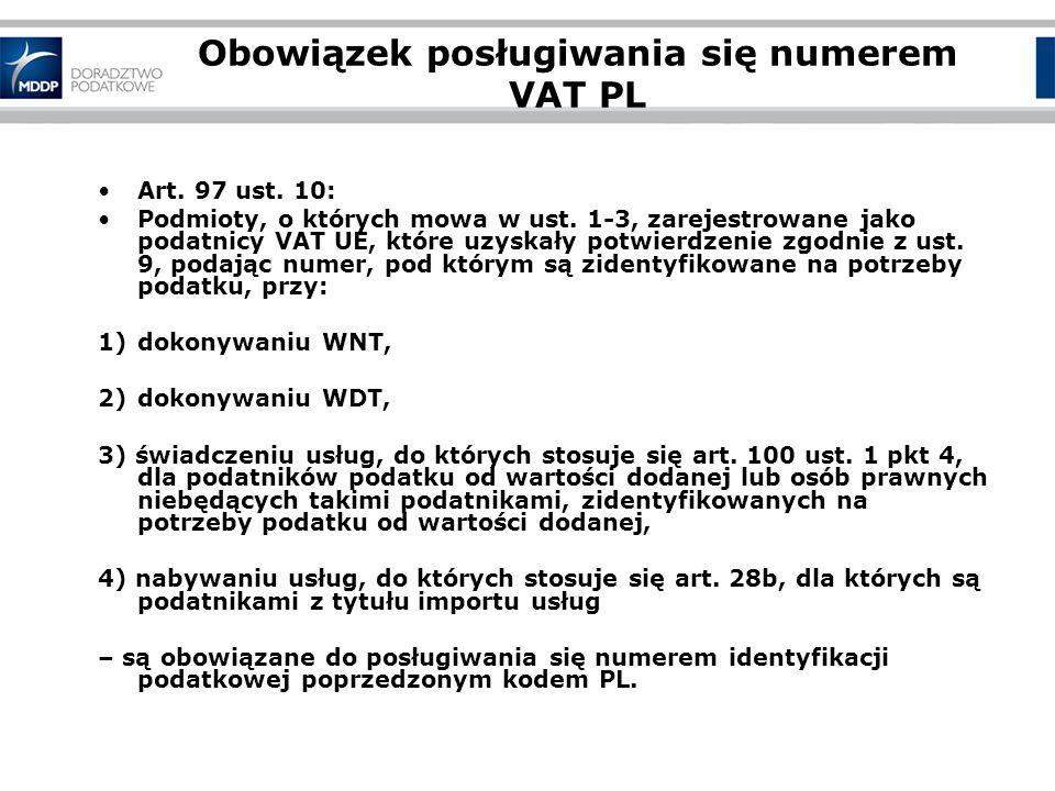 Obowiązek posługiwania się numerem VAT PL