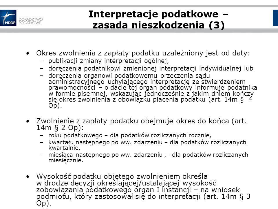Interpretacje podatkowe – zasada nieszkodzenia (3)