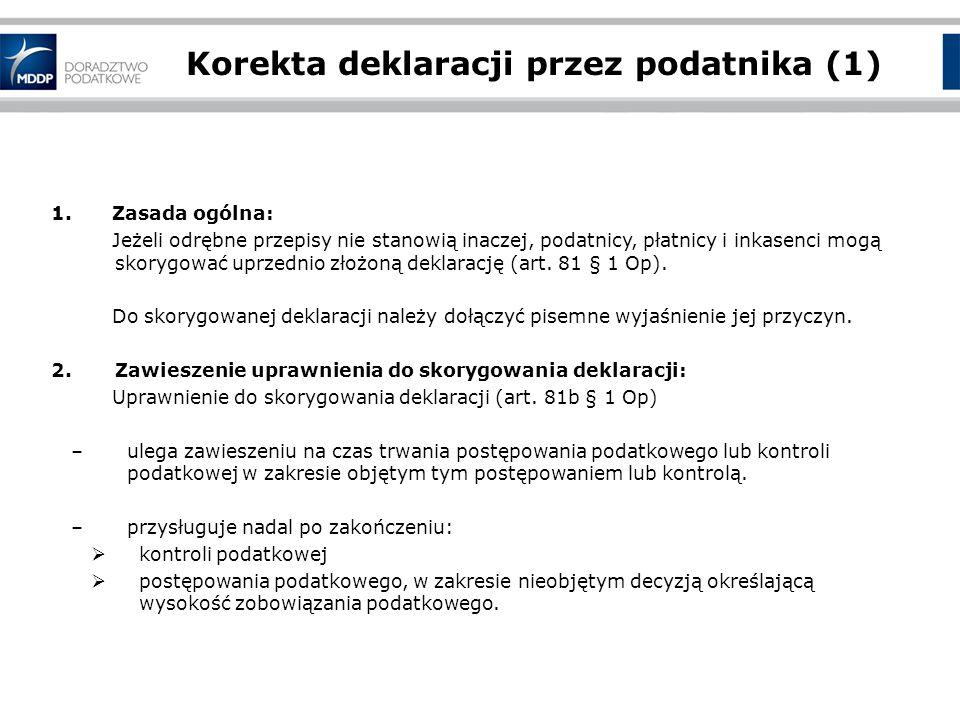 Korekta deklaracji przez podatnika (1)