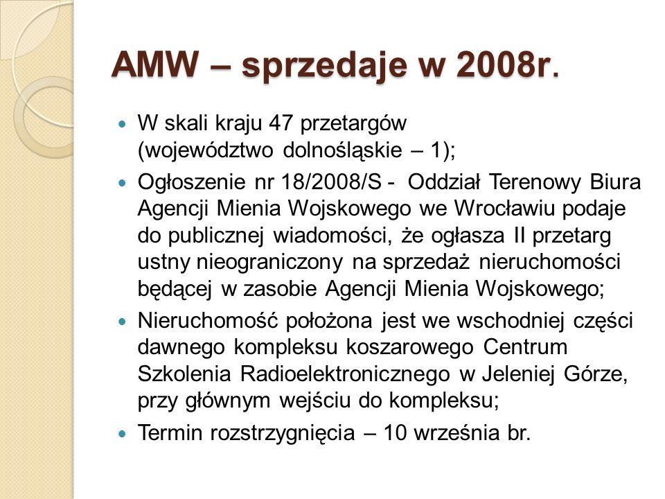 AMW – sprzedaje w 2008r. W skali kraju 47 przetargów (województwo dolnośląskie – 1);