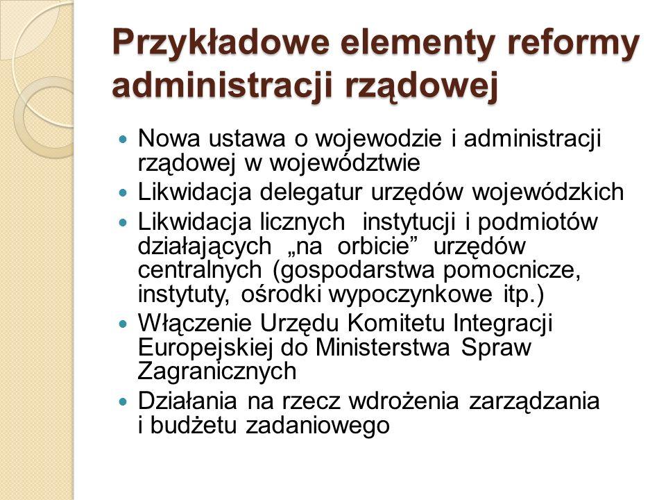 Przykładowe elementy reformy administracji rządowej