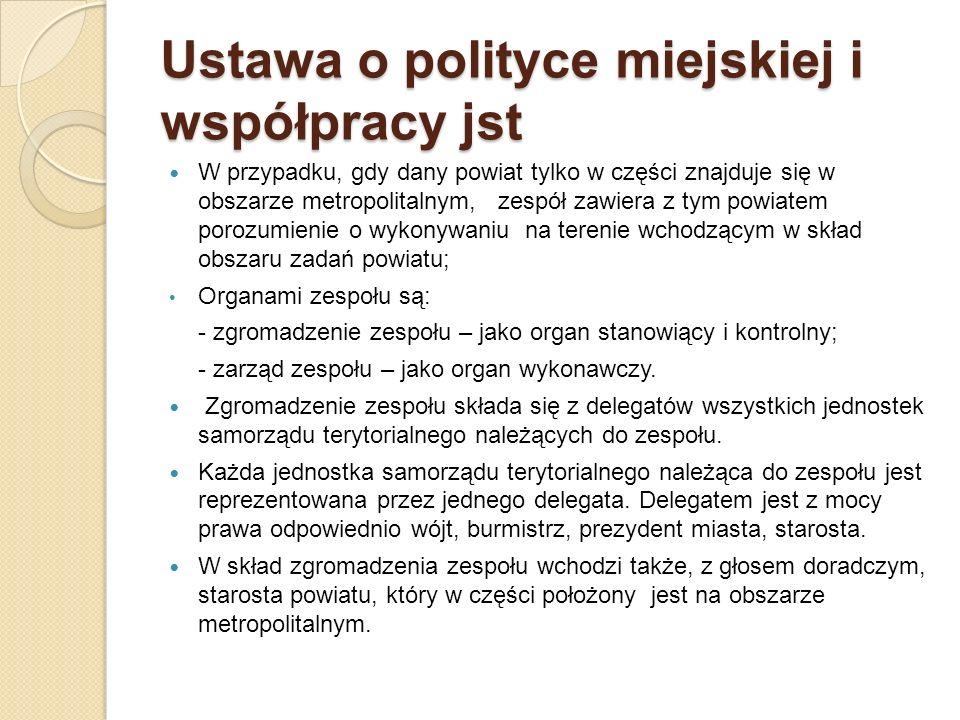 Ustawa o polityce miejskiej i współpracy jst