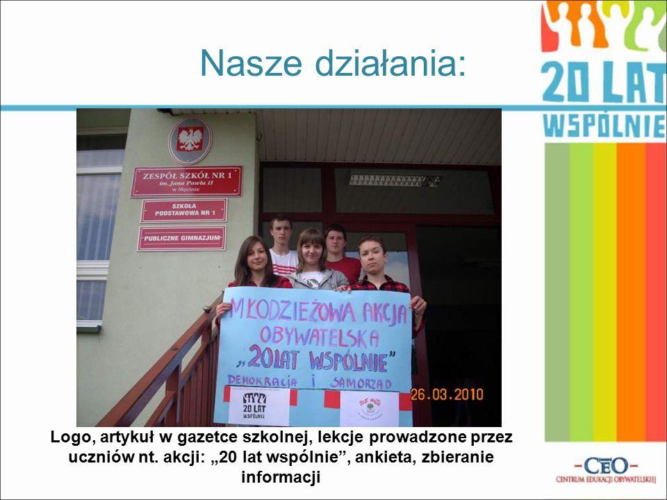 Nasze działania: Logo, artykuł w gazetce szkolnej, lekcje prowadzone przez uczniów nt.