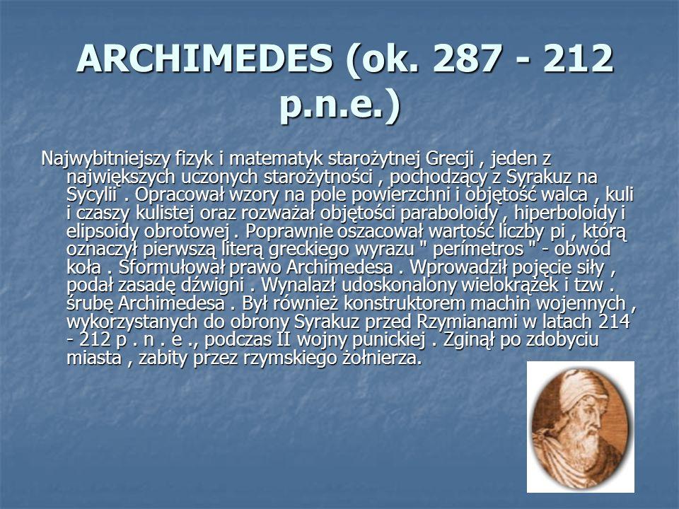 ARCHIMEDES (ok. 287 - 212 p.n.e.)