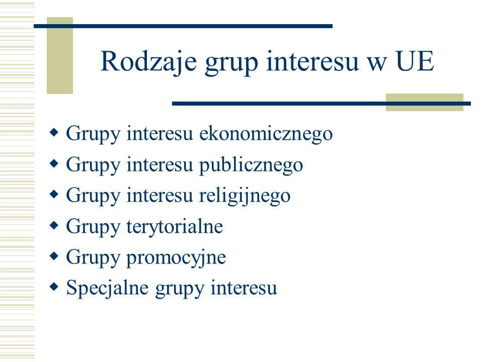 Rodzaje grup interesu w UE
