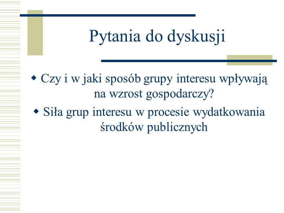 Pytania do dyskusji Czy i w jaki sposób grupy interesu wpływają na wzrost gospodarczy