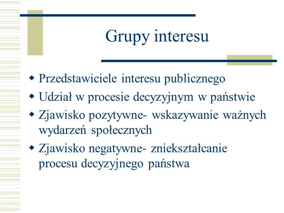 Grupy interesu Przedstawiciele interesu publicznego