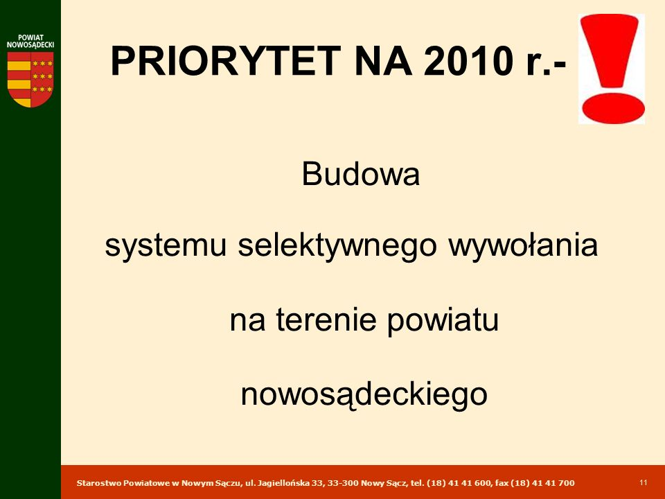 systemu selektywnego wywołania na terenie powiatu nowosądeckiego