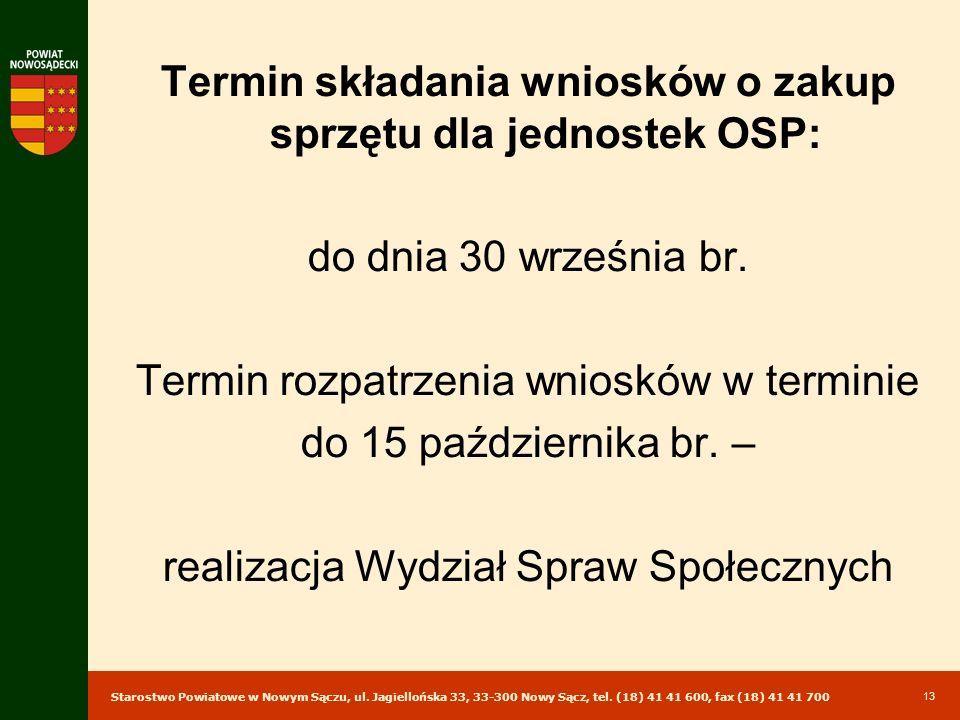 Termin składania wniosków o zakup sprzętu dla jednostek OSP: