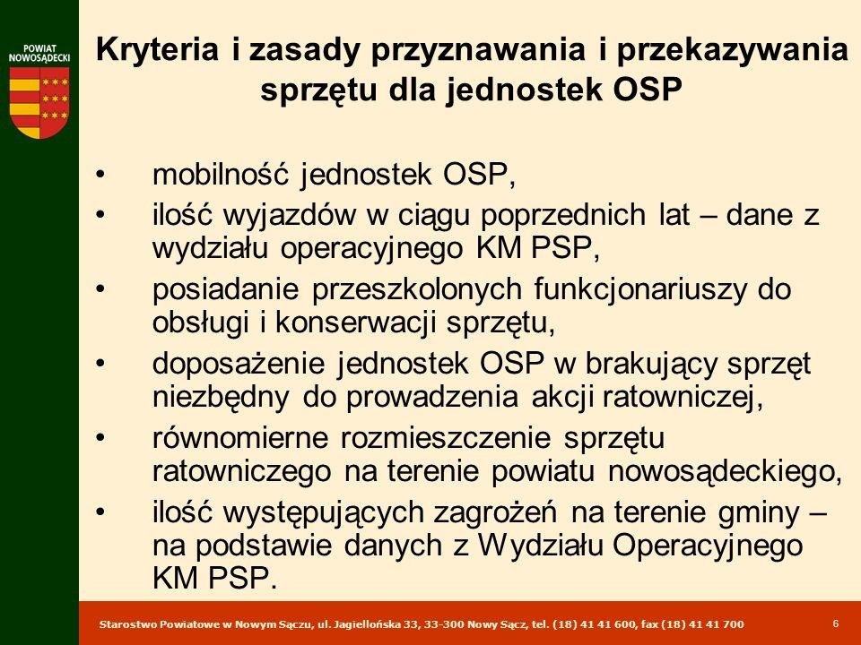 Kryteria i zasady przyznawania i przekazywania sprzętu dla jednostek OSP