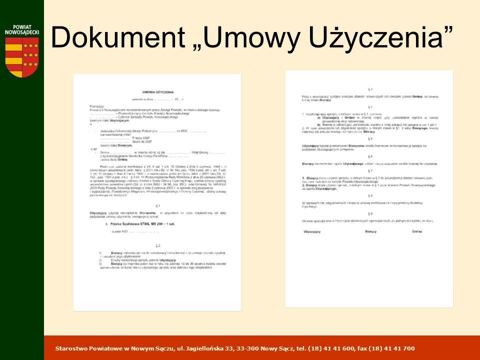 """Dokument """"Umowy Użyczenia"""