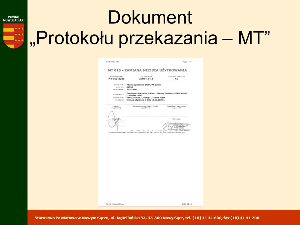 """Dokument """"Protokołu przekazania – MT"""