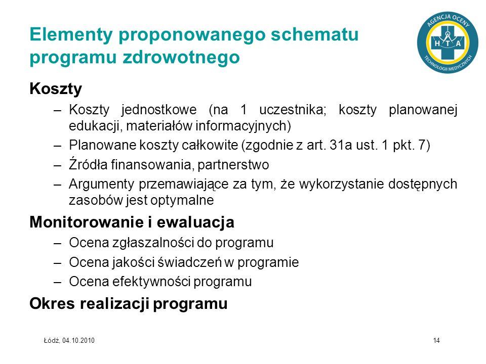 Elementy proponowanego schematu programu zdrowotnego