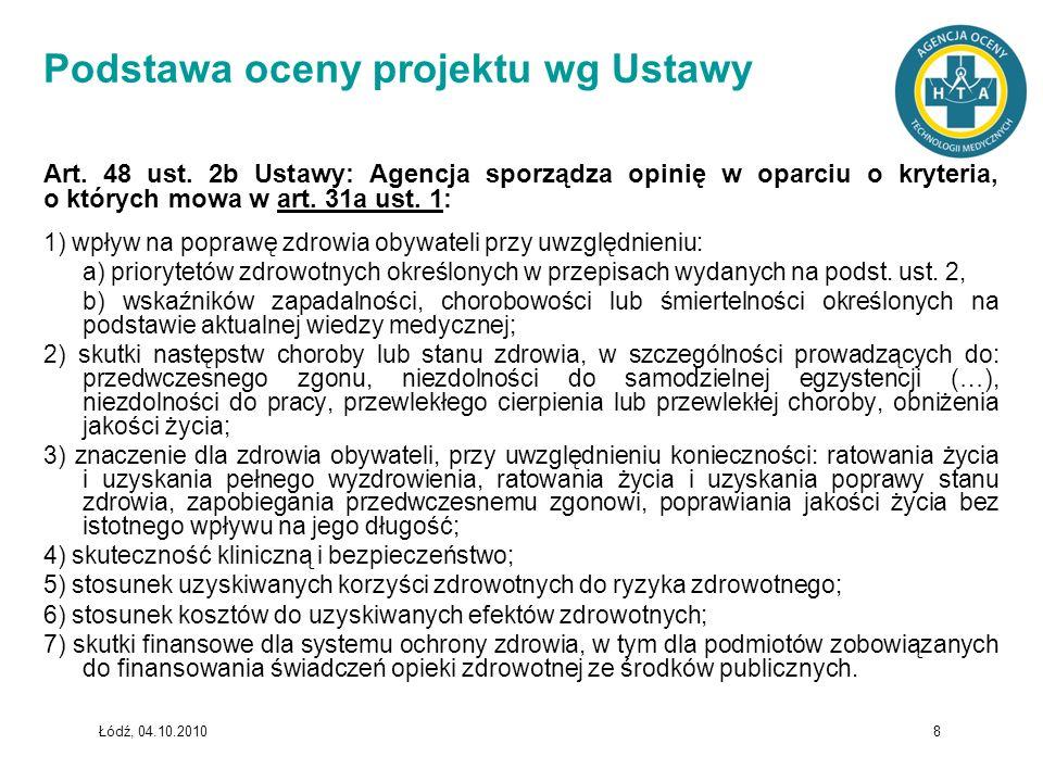 Podstawa oceny projektu wg Ustawy
