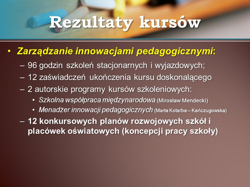 Rezultaty kursów Zarządzanie innowacjami pedagogicznymi: