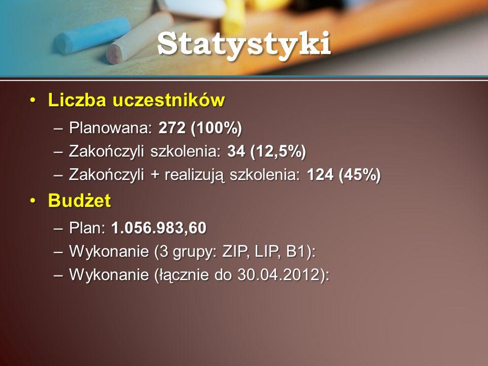 Statystyki Liczba uczestników Budżet Planowana: 272 (100%)