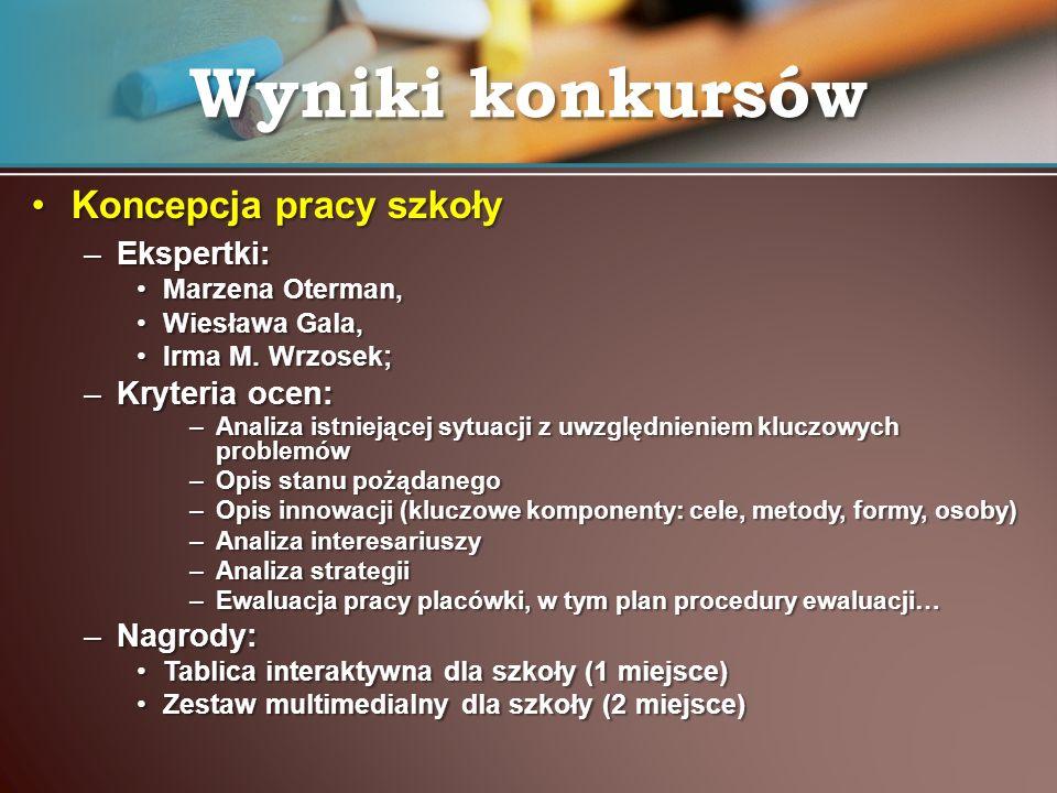 Wyniki konkursów Koncepcja pracy szkoły Ekspertki: Kryteria ocen: