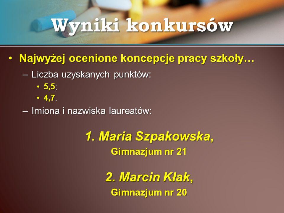 Wyniki konkursów 1. Maria Szpakowska, 2. Marcin Kłak,
