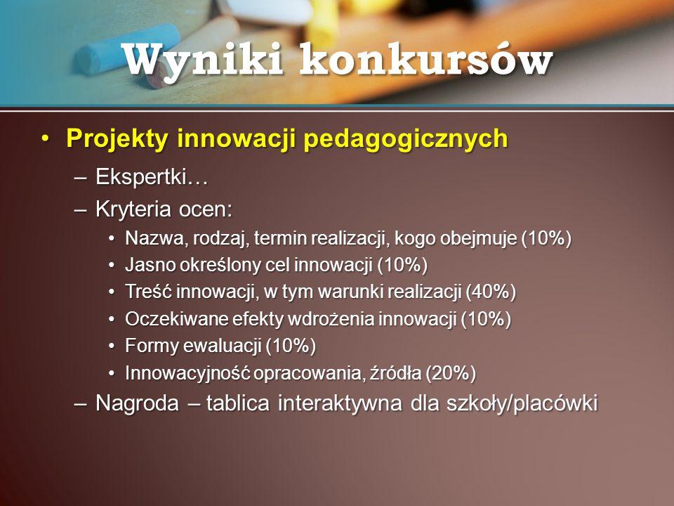 Wyniki konkursów Projekty innowacji pedagogicznych Ekspertki…