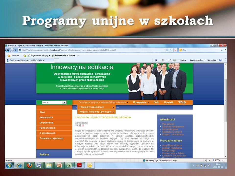 Programy unijne w szkołach