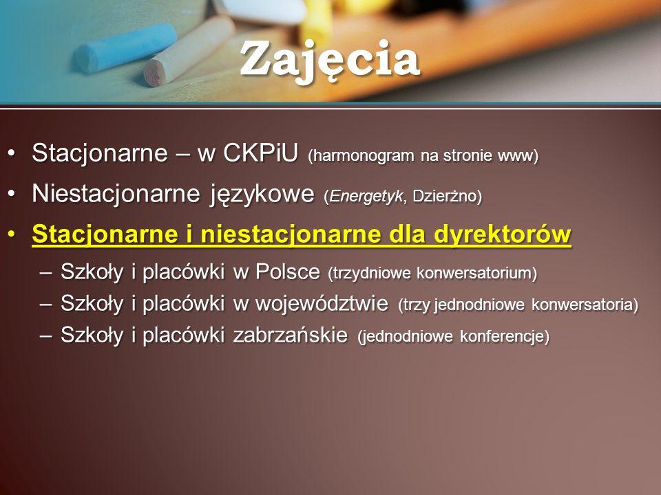 Zajęcia Stacjonarne – w CKPiU (harmonogram na stronie www)