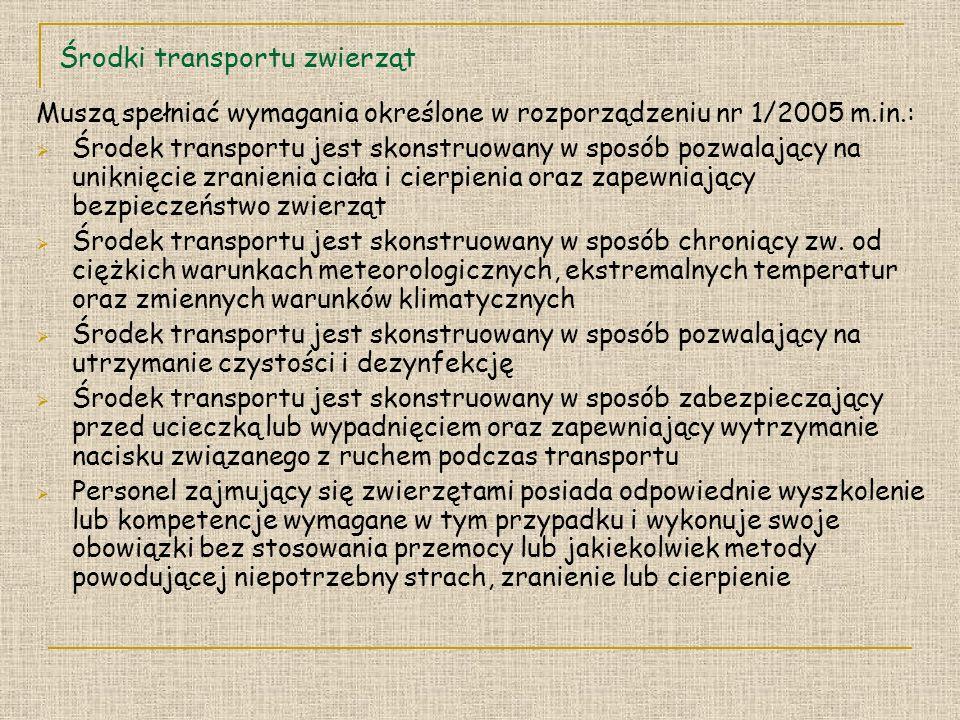 Środki transportu zwierząt