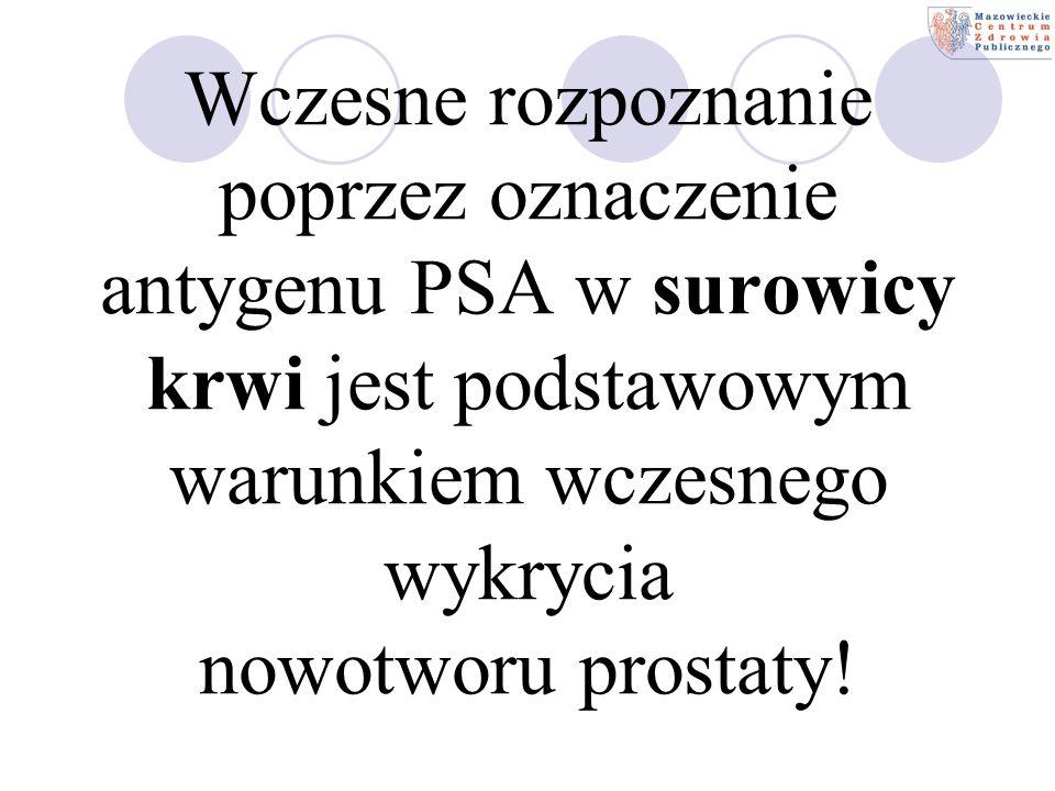 Wczesne rozpoznanie poprzez oznaczenie antygenu PSA w surowicy krwi jest podstawowym warunkiem wczesnego wykrycia nowotworu prostaty!