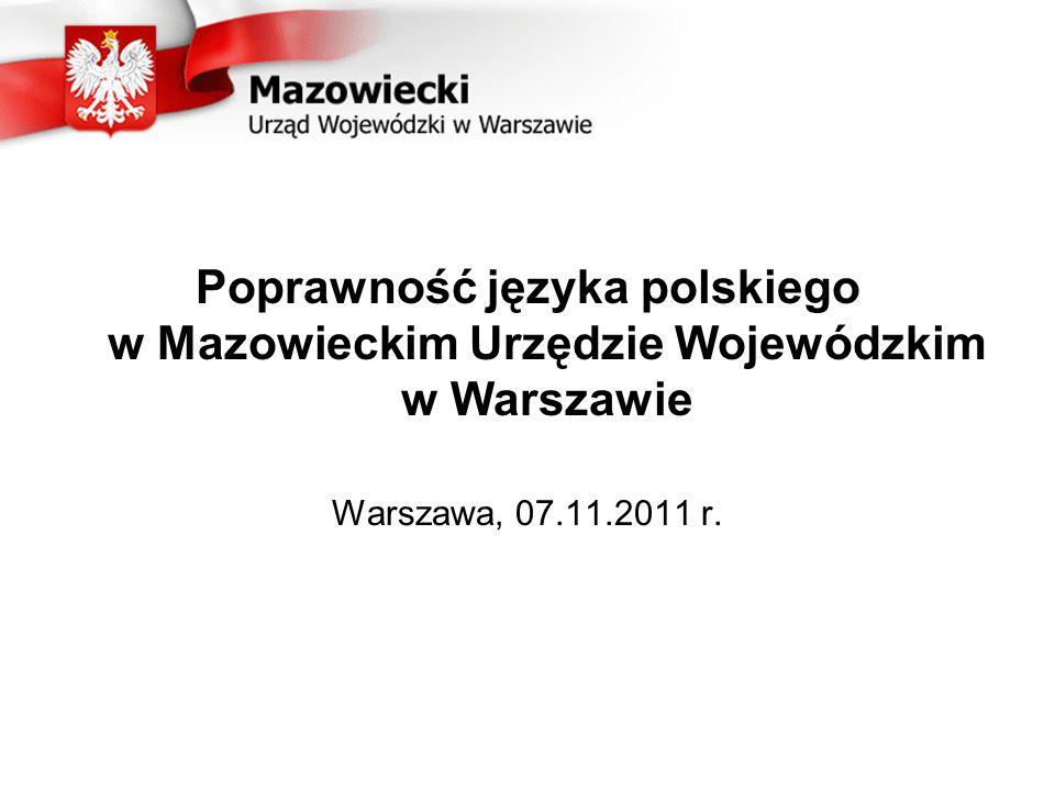 Poprawność języka polskiego w Mazowieckim Urzędzie Wojewódzkim w Warszawie