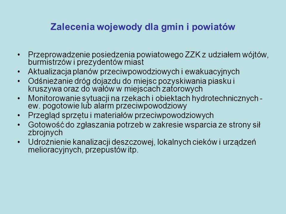 Zalecenia wojewody dla gmin i powiatów