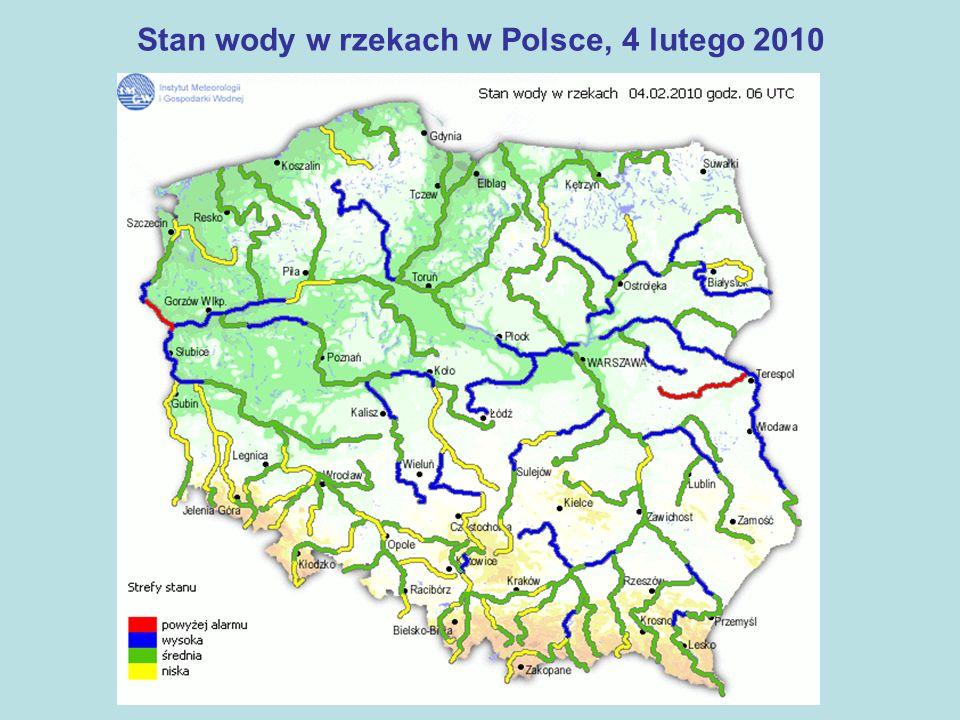 Stan wody w rzekach w Polsce, 4 lutego 2010