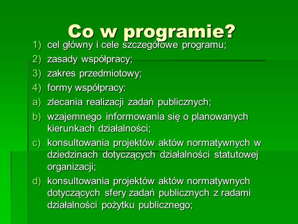 Co w programie cel główny i cele szczegółowe programu;